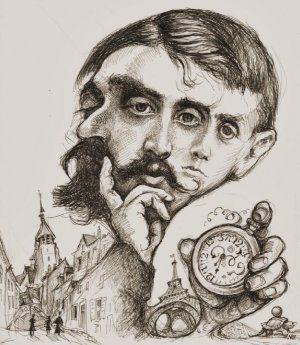 """Trois photographies de Marcel Proust fondues en un triptyque qui représente les métamorphoses du """"moi"""" au travers du temps."""